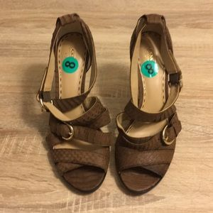NWOT Coach Brown Strappy Heels
